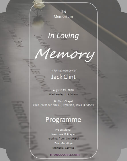memorial program customizable word design template