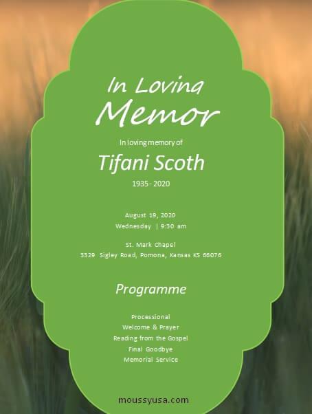 memorial program free download word