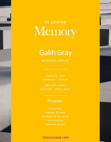 memorial program free word template