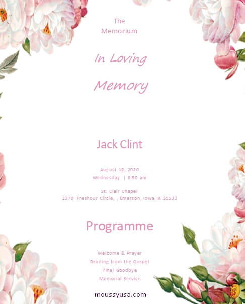 memorial program in word free download