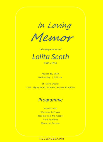 memorial program in word