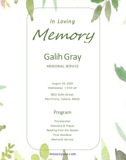 memorial program template for word