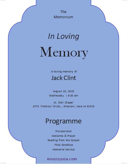 memorial program template free word