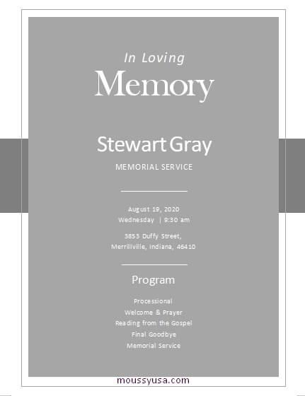 memorial program word template free