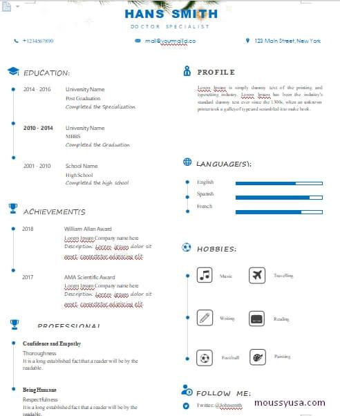 minimalist resum template for word