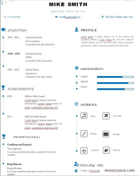 minimalist resum template free word