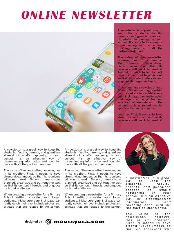 online newsletter free psd template