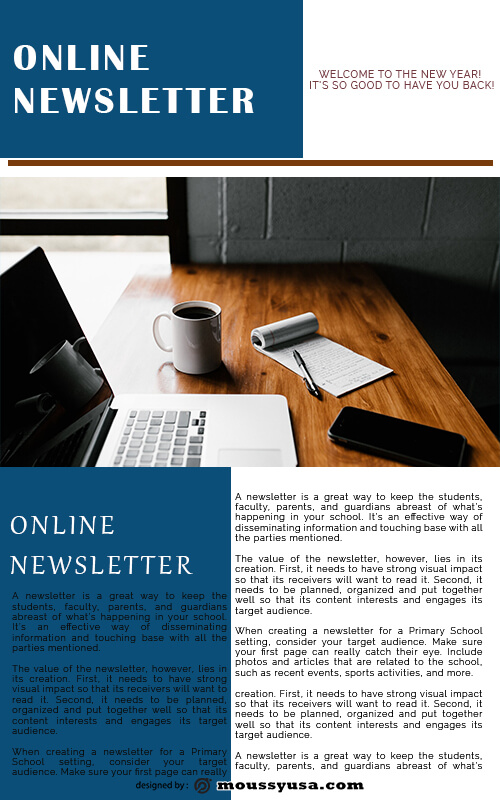 online newsletter psd template free