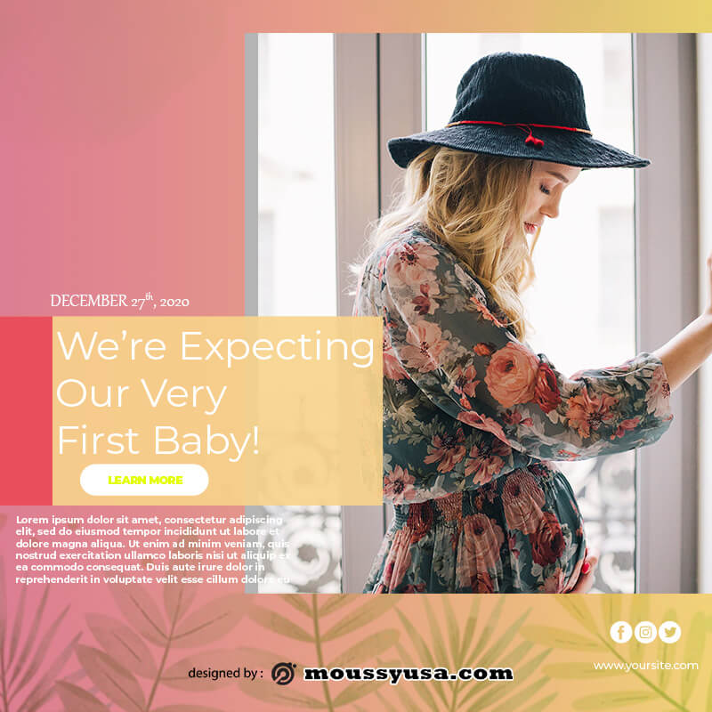 pregnant announcement example psd design