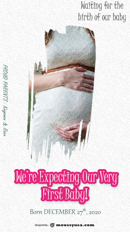 pregnant announcement psd template free