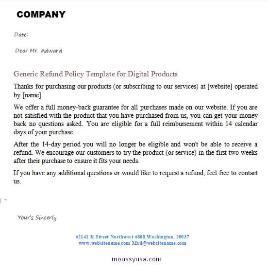 refund policy template for word