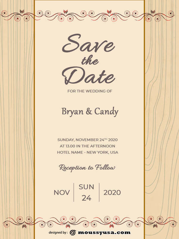 rustic wedding invites customizable psd design template