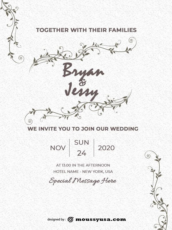 rustic wedding invites free psd template