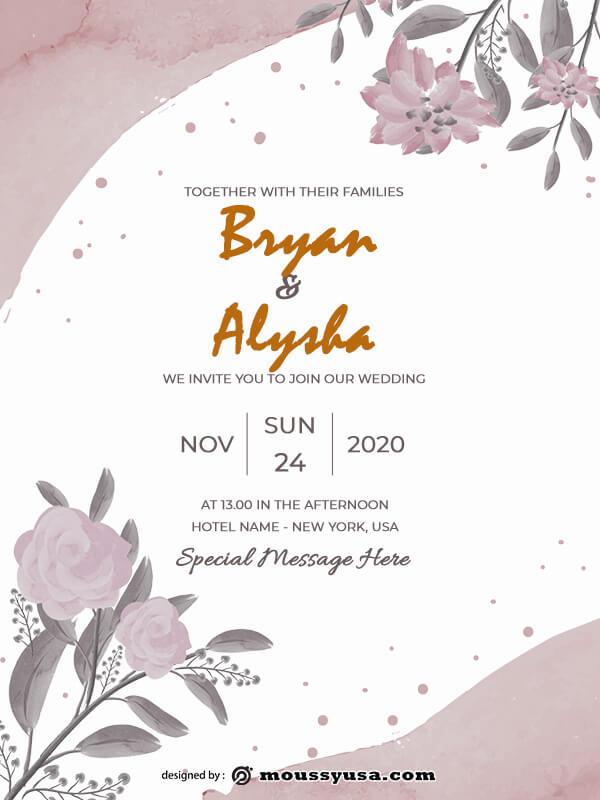 rustic wedding invites psd template free