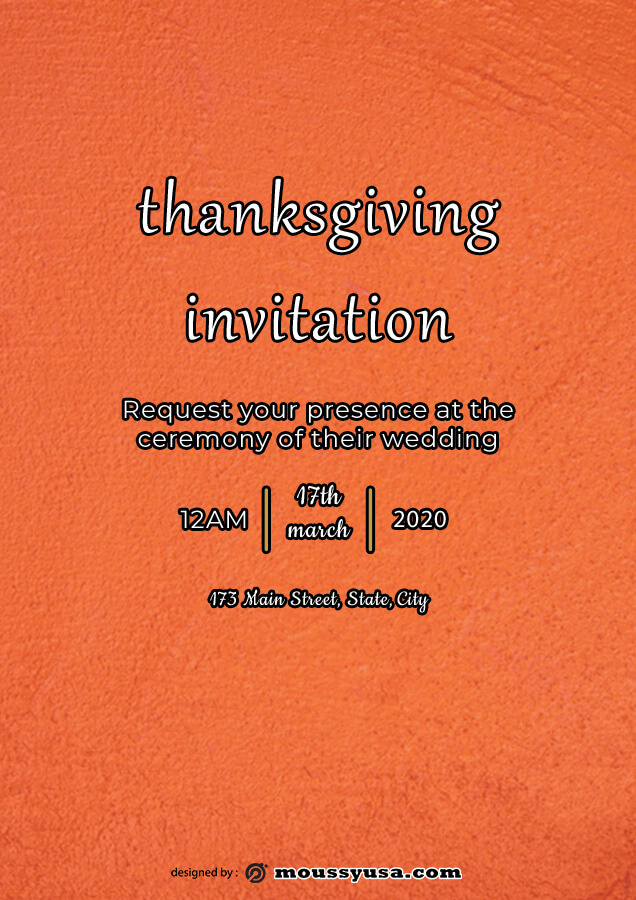 thanksgiving invitation customizable psd design template