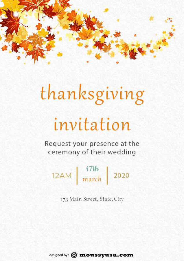 thanksgiving invitation example psd design