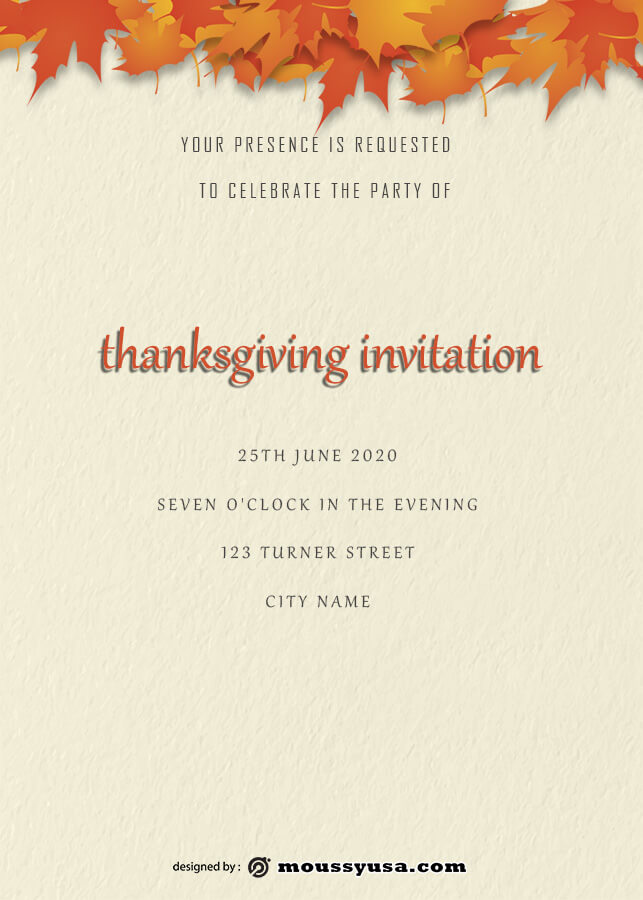 thanksgiving invitation free download psd
