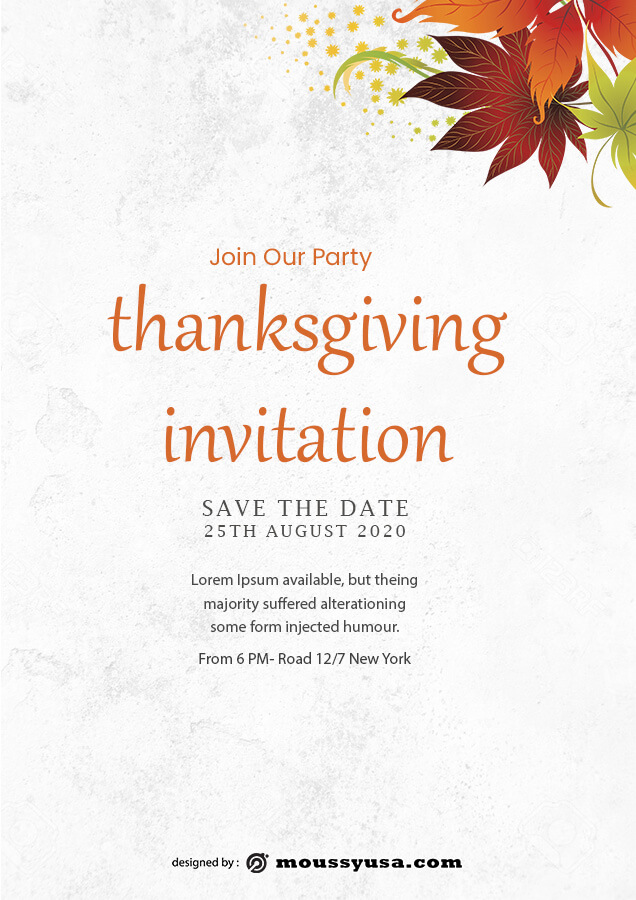 thanksgiving invitation free psd template