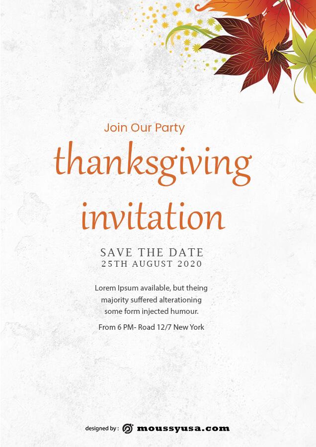 thanksgiving invitation free psd template