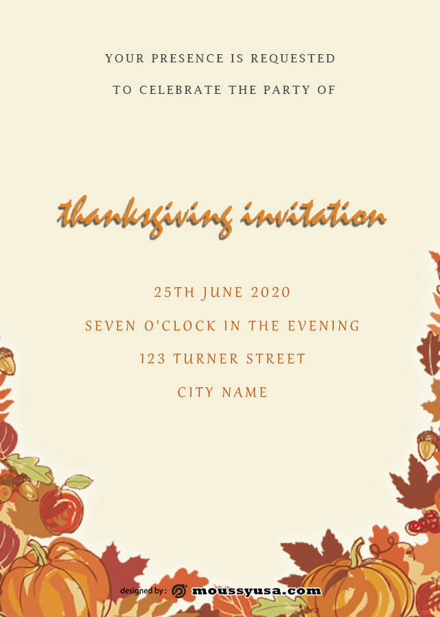 thanksgiving invitation in photoshop free download