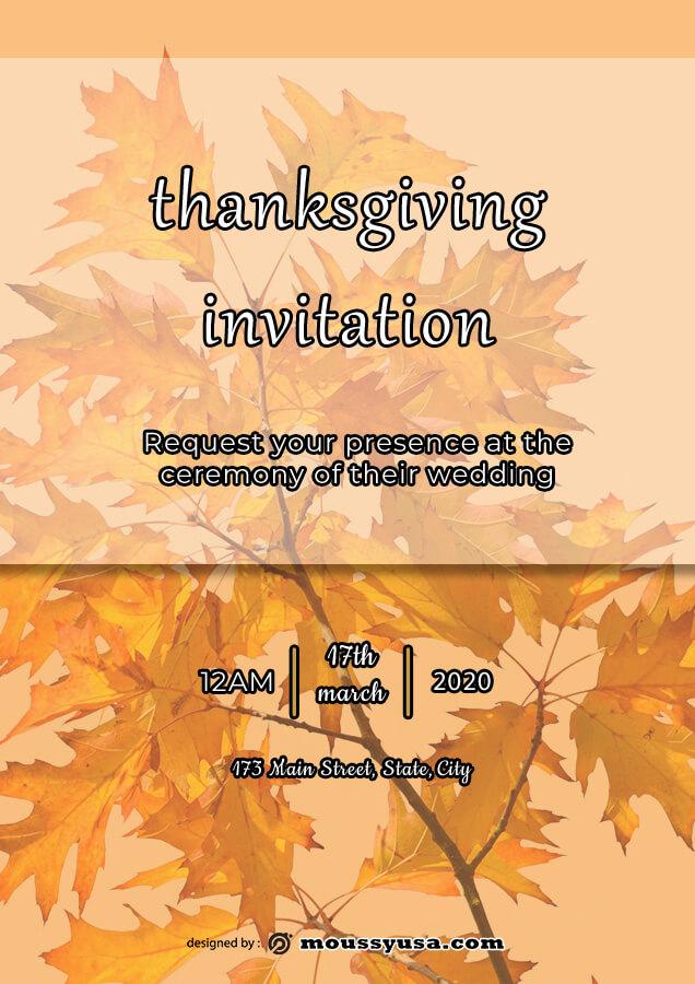 thanksgiving invitation in psd design