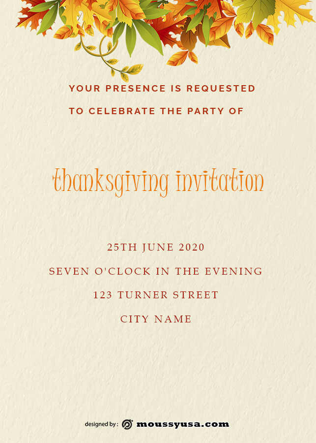 thanksgiving invitation psd template free