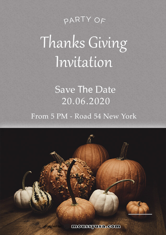 thanksgiving invitation template for photoshop