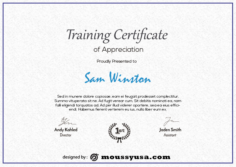 training certificate customizable psd design template