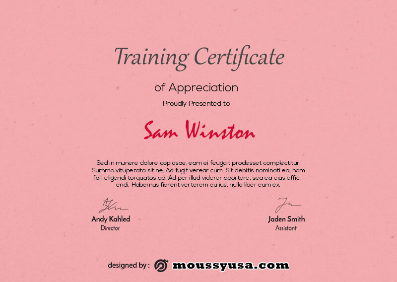 training certificate example psd design