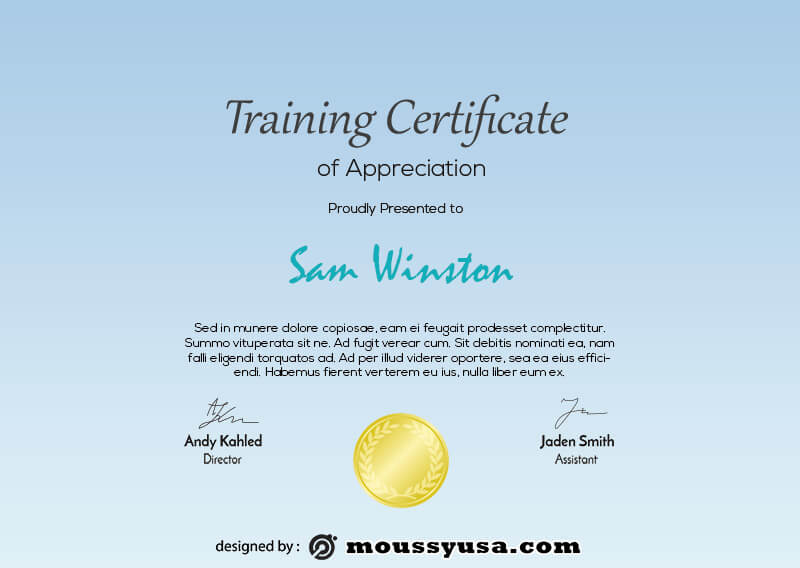 training certificate free download psd
