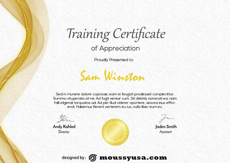 training certificate free psd template