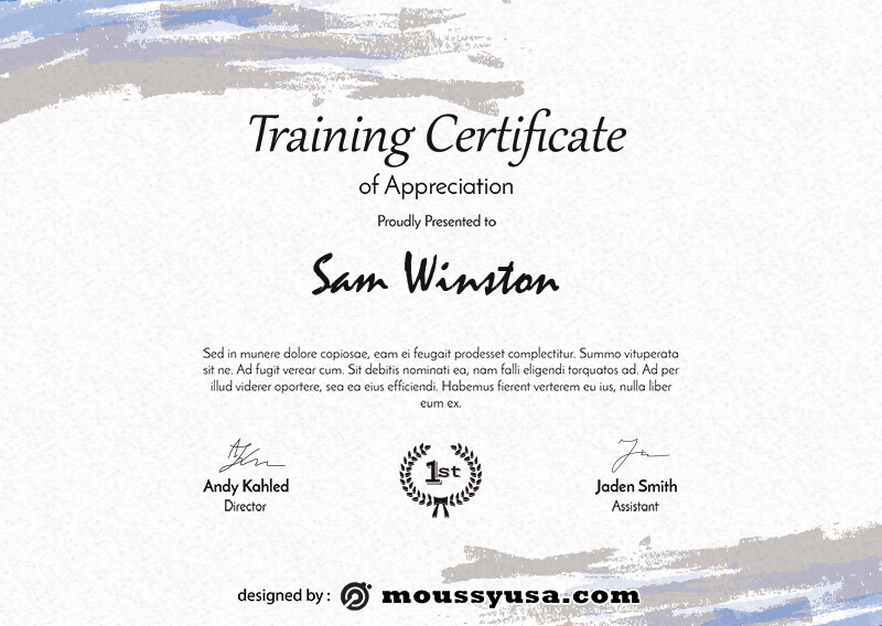 training certificate psd template free