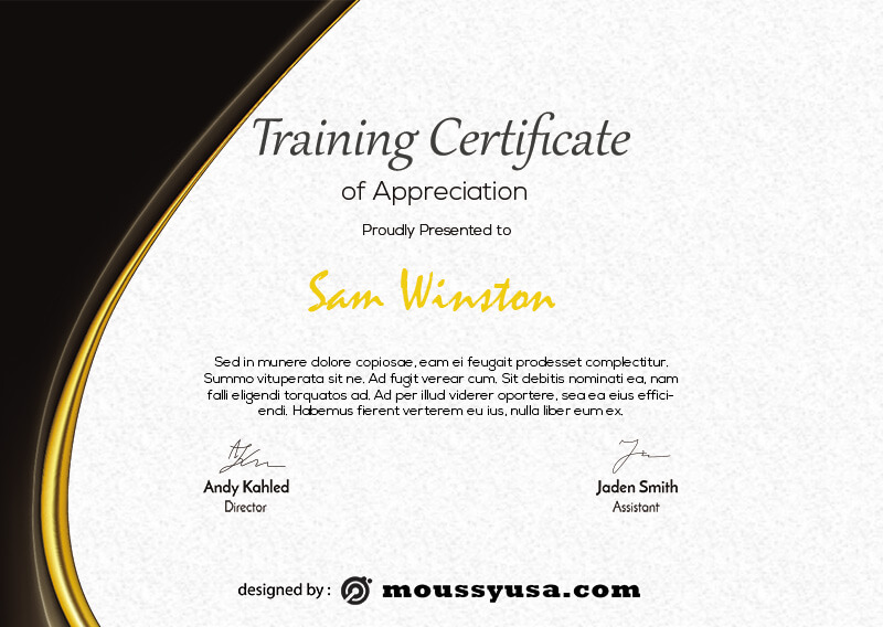 training certificate template free psd