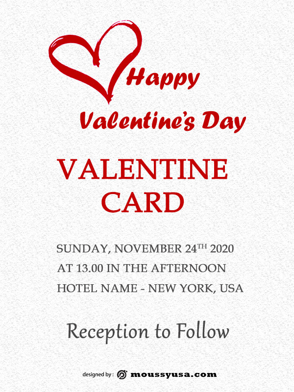 valentine card example psd design
