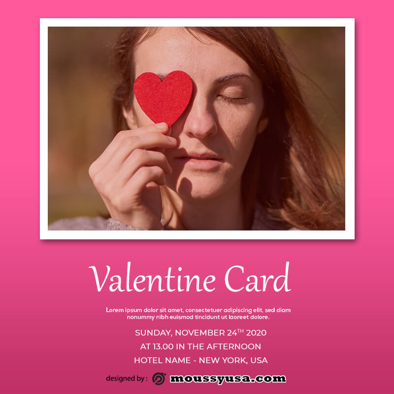 valentine card free psd template