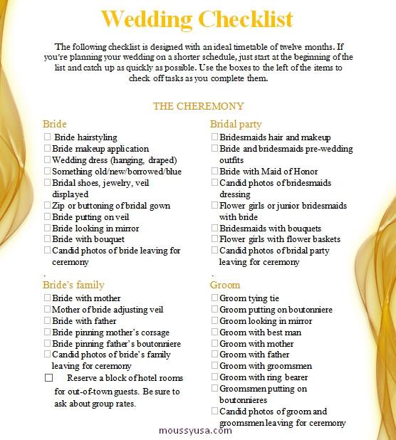 wedding checklist customizable word design template
