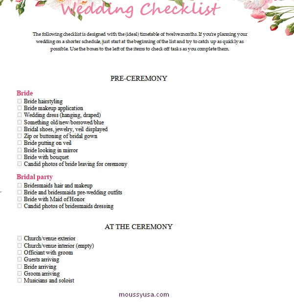 wedding checklist example word design