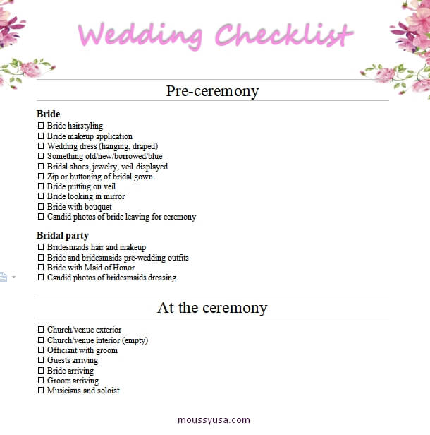 wedding checklist free download word