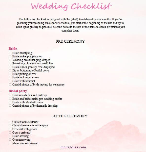 wedding checklist free word template
