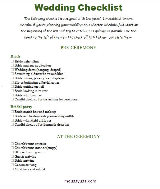 wedding checklist in word design