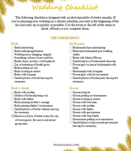 wedding checklist in word free download