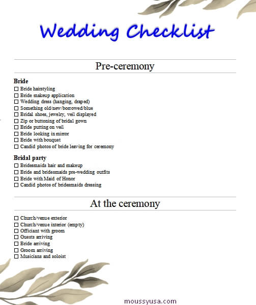 wedding checklist in word