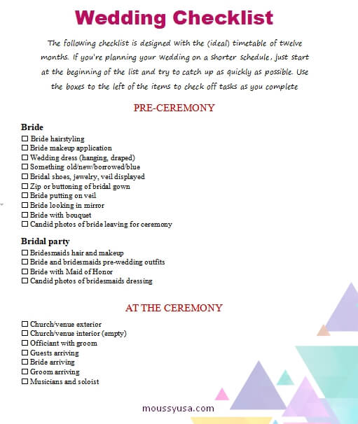 wedding checklist template for word
