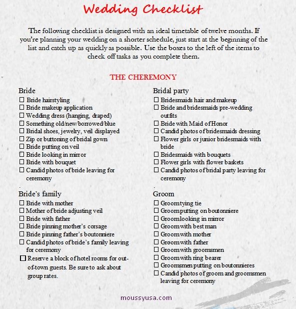 wedding checklist template free word