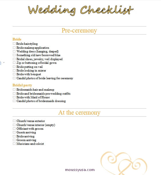 wedding checklist word template free