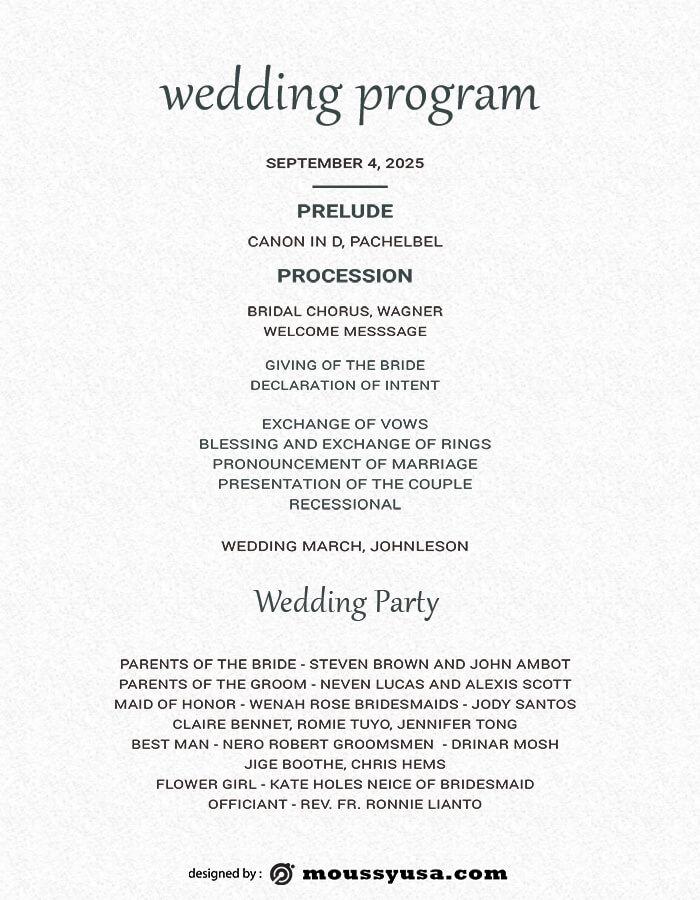 wedding program customizable psd design template