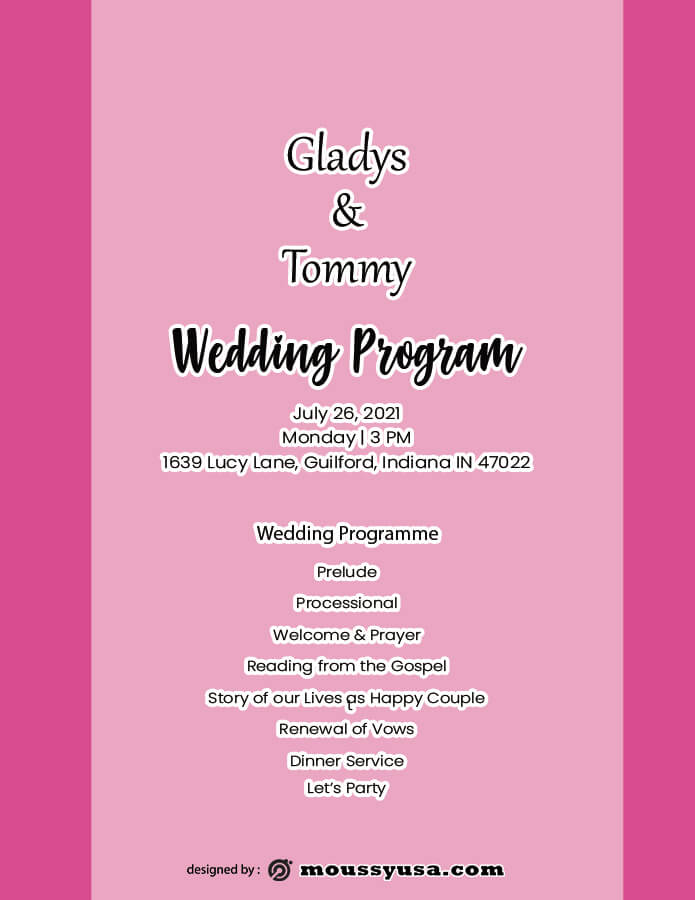 wedding program free download psd