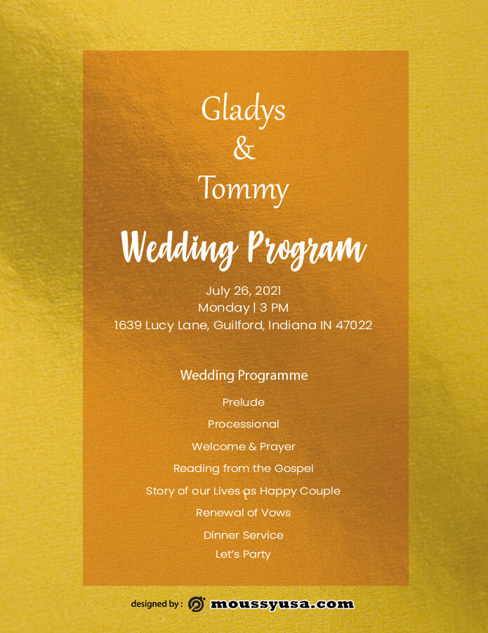 wedding program in photoshop free download