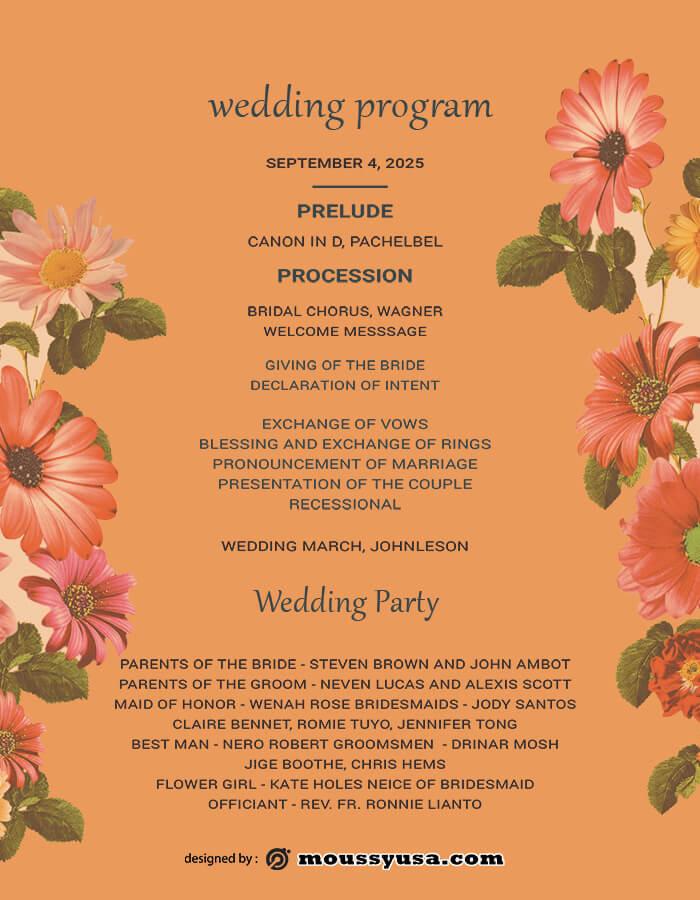wedding program in photoshop