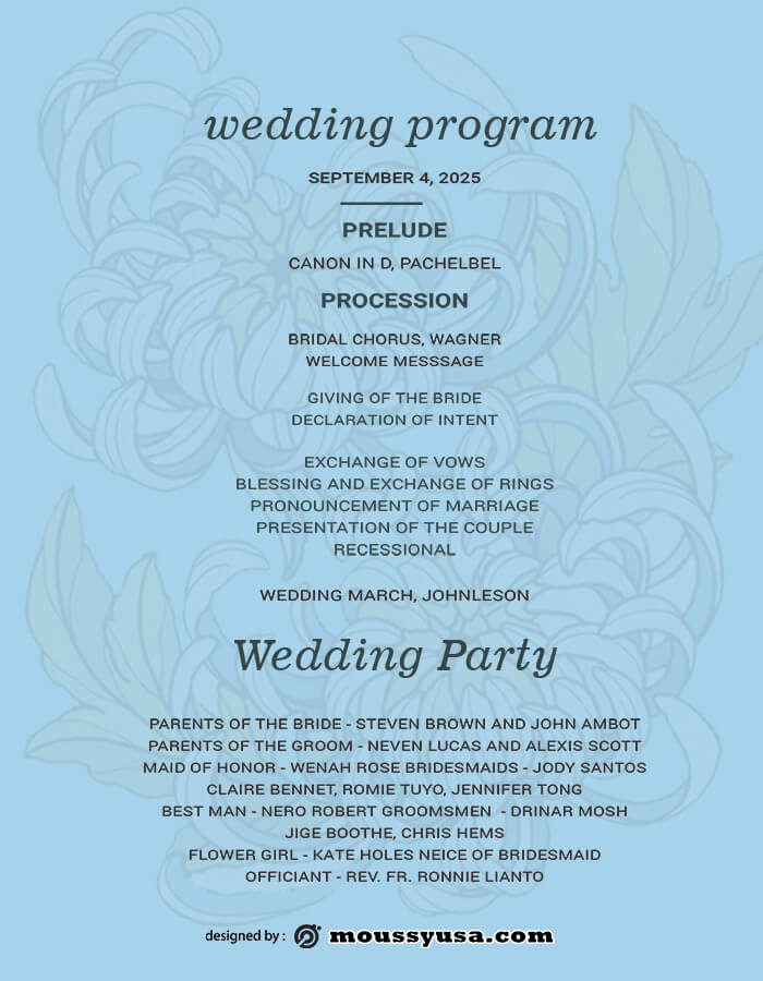 wedding program in psd design